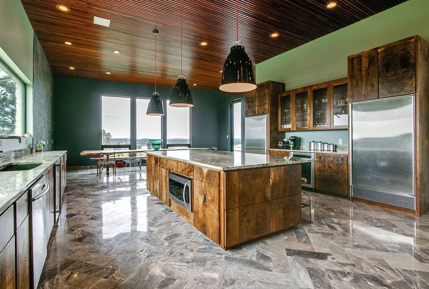 Modern kitchen with reclaimed wood cabinets and island and polished marble flooring