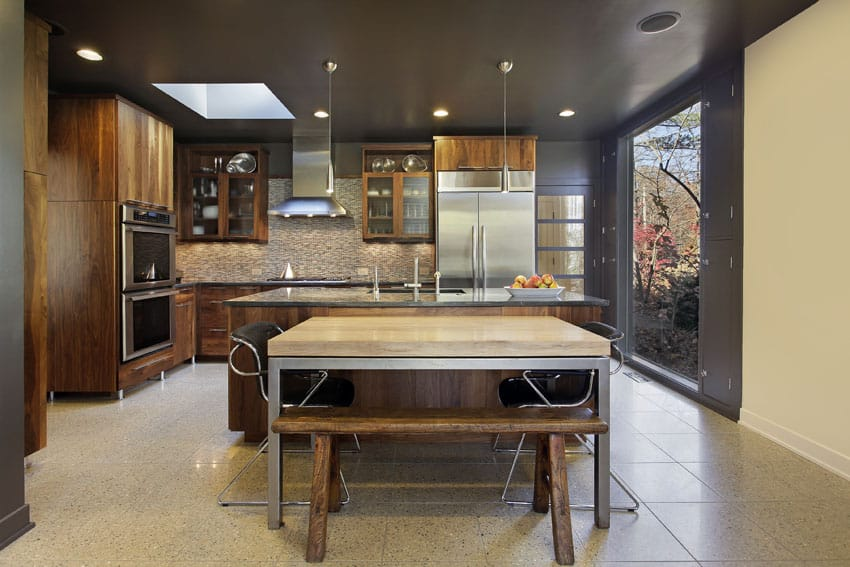 Modern kitchen with wood surface island
