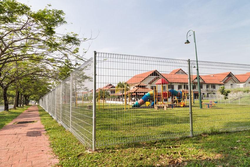 Aluminum security fence in neighborhood