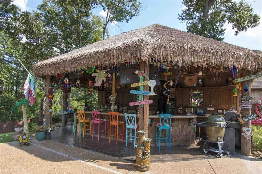 Backyard man cave tiki bar