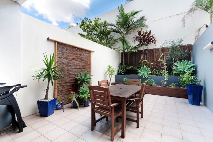 Bamboo fence around patio