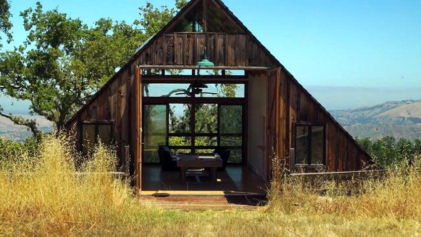 Rustic barn man cave in backyard