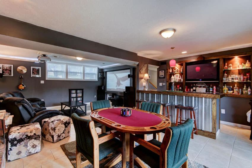 Basement man cave with leather seats tv home bar and card table