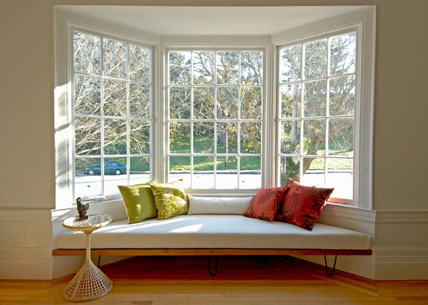Bay window seat with picture window view