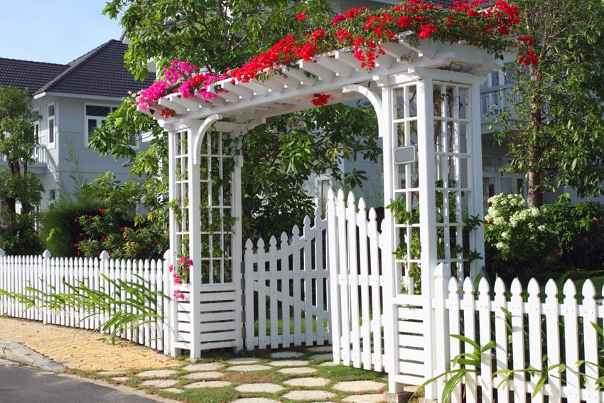 Beautiful white garden fence with gate