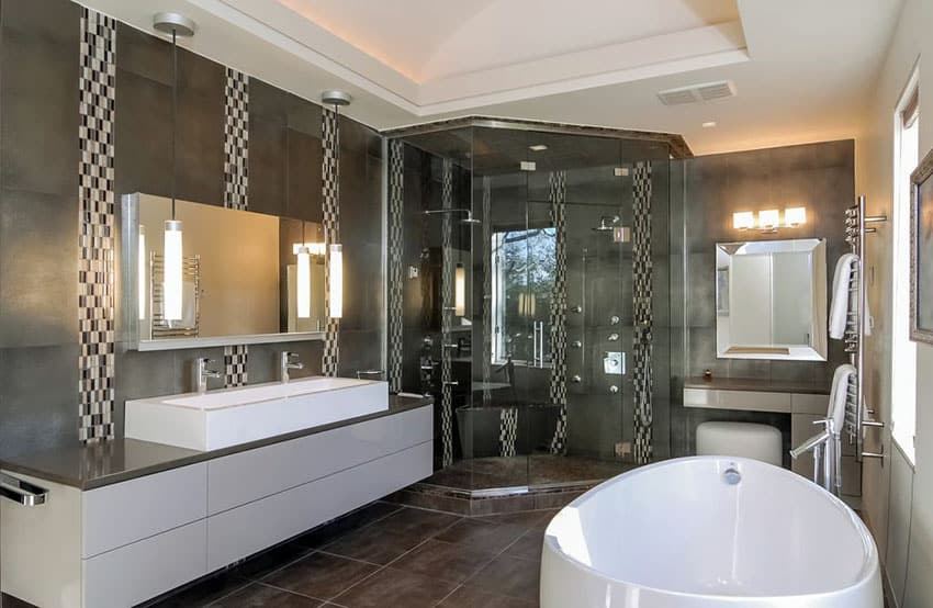 Black and white modern master bathroom with porcelain tile flooring and large soaking tub