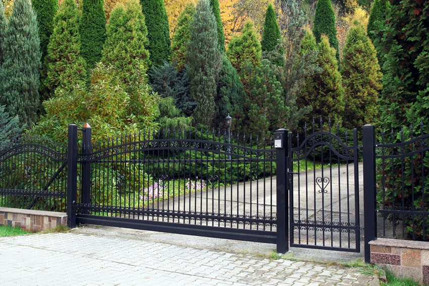 Black metal security fence and gate