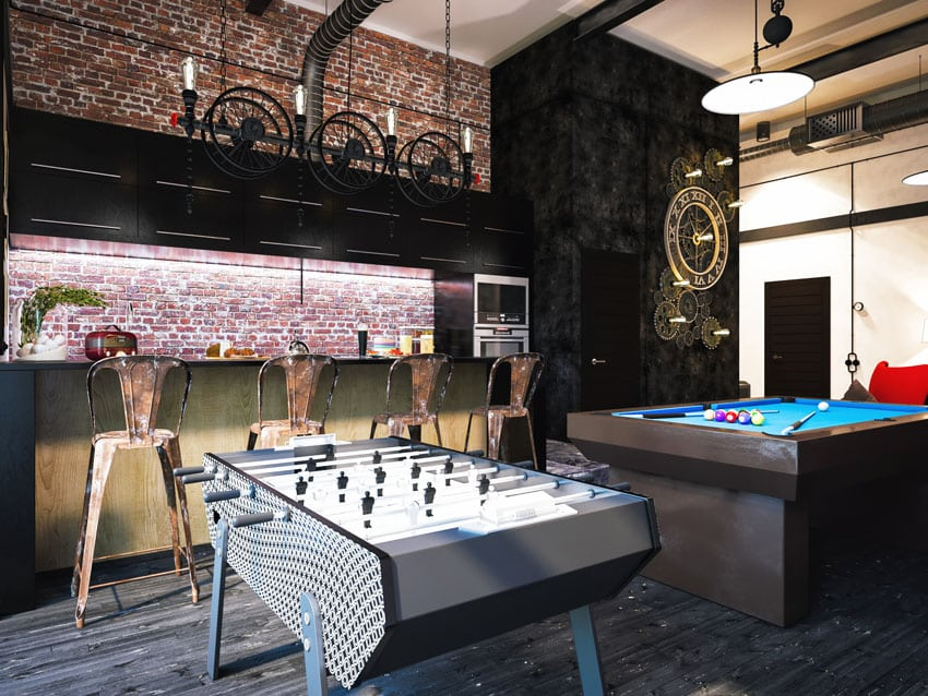Brick man cave with games and home bar