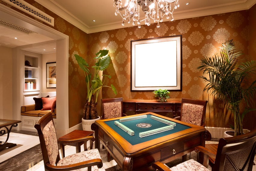 Card table in basement of luxury home