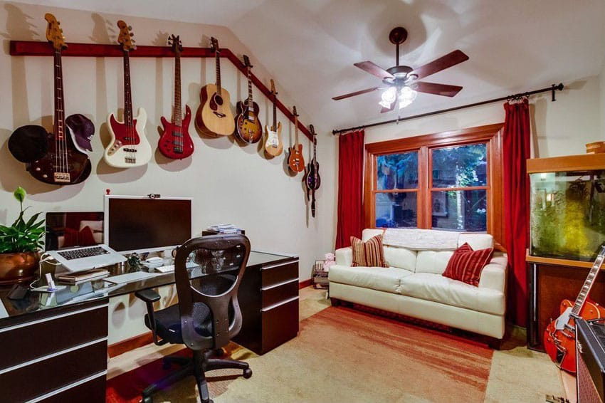 Cheap man cave hangout with guitar collection