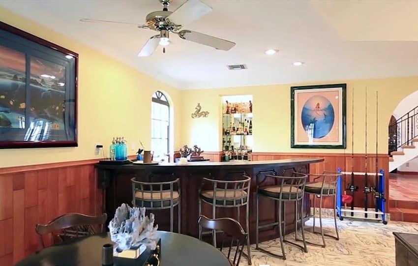 Circular home bar and card table
