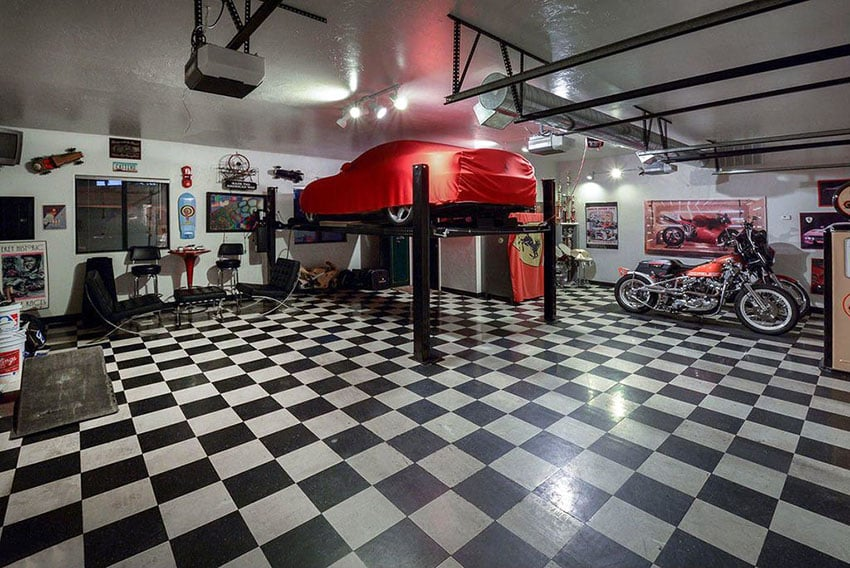 Contemporary garage with black and white checkered floors