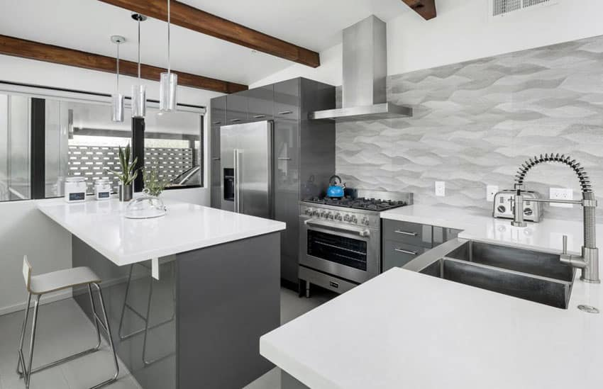 30 gray and white kitchen ideas designing idea for Kitchen designs grey