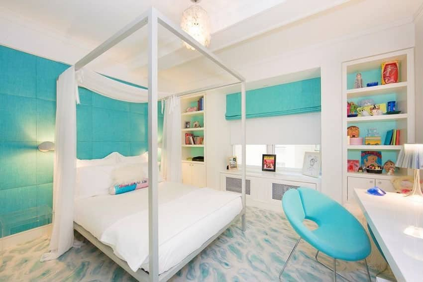 Contemporary teal bedroom with fabric walls, modern high post bed and tray ceiling