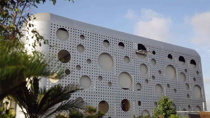 Custom apartment building with interesting circular design on walls
