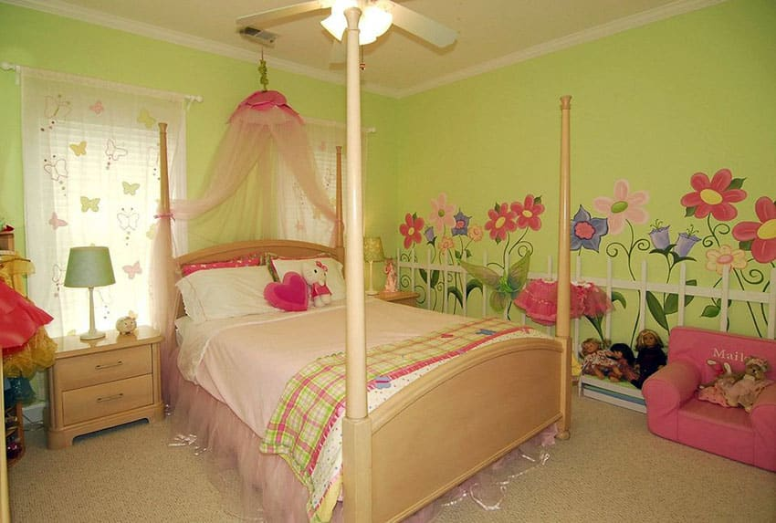 Cute green girls room with wall decals of flowers