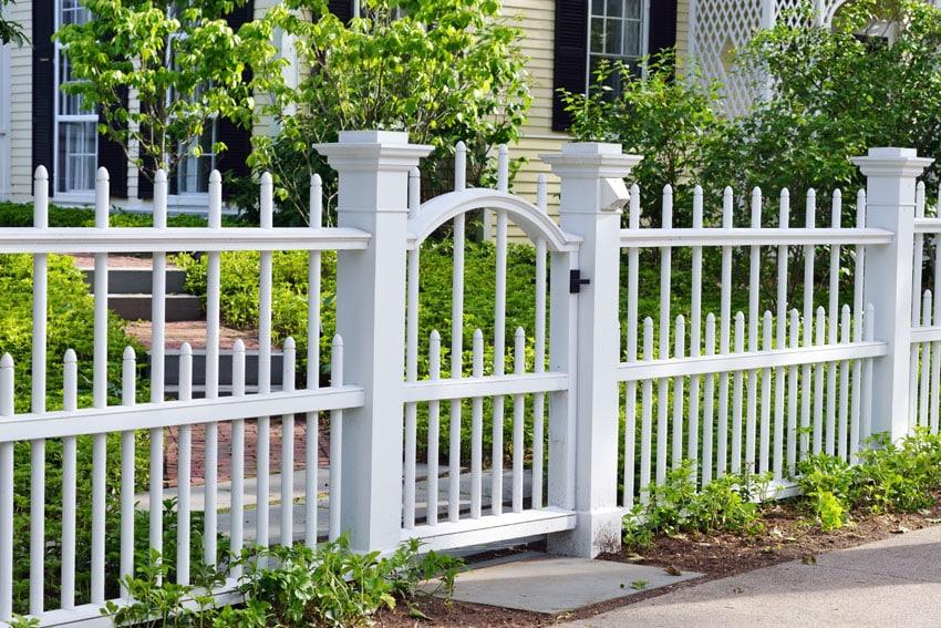 Decorative fence painted white