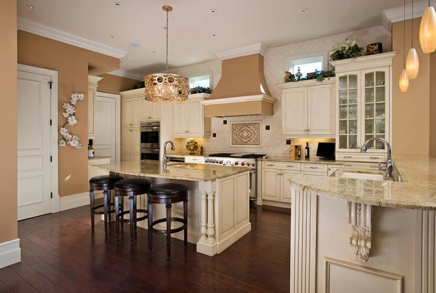 Engineered mahogany hardwood flooring in traditional kitchen