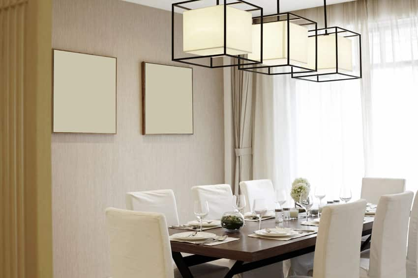 Formal neutral color dining room with modern design