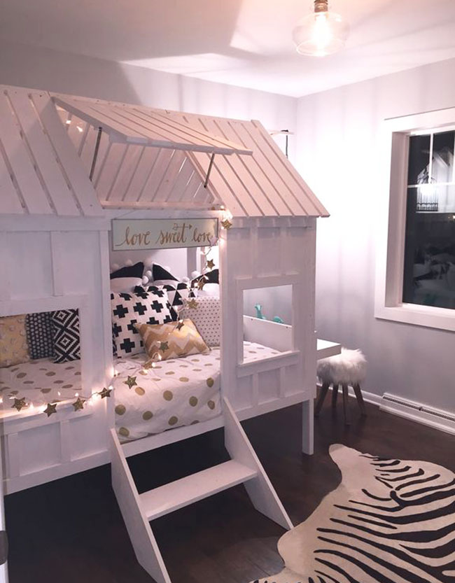 Girls bedroom with doll house bed