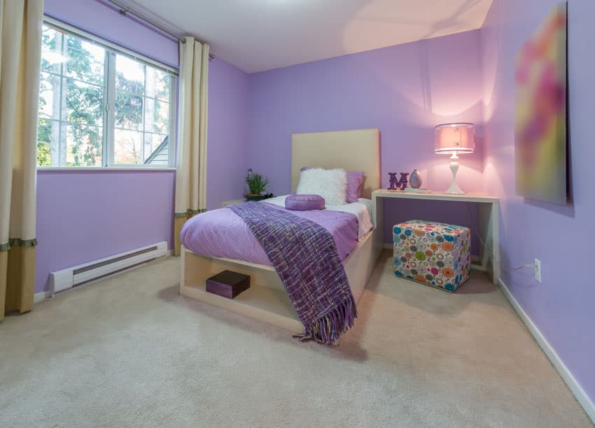 Girls purple bedroom with carpet
