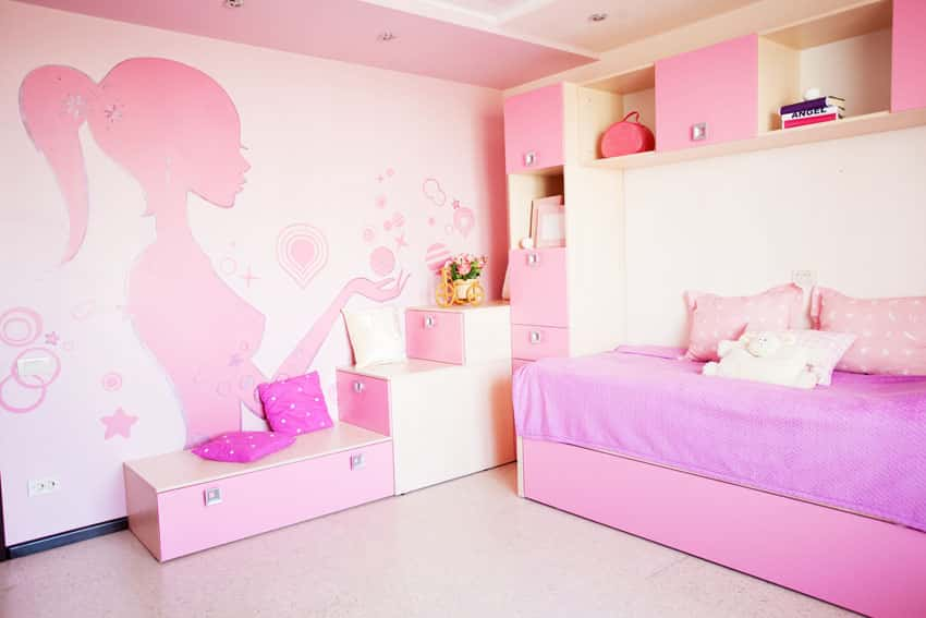 Pink girls room with wall mural