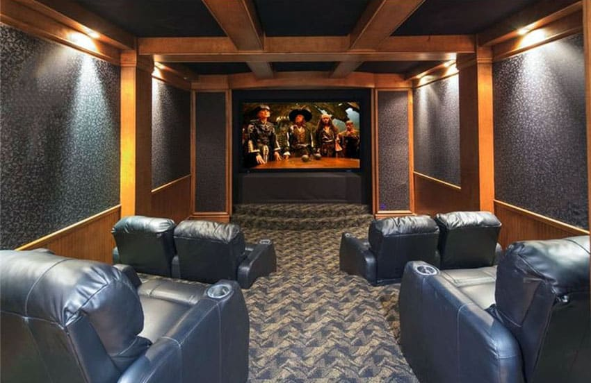 Home theater movie room with leather seats