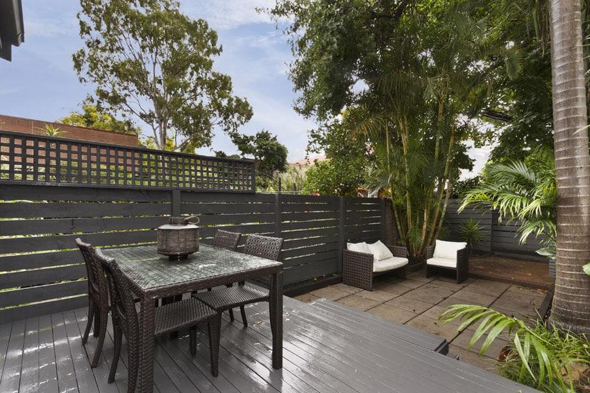 Horizontal plank wood fence around backyard patio