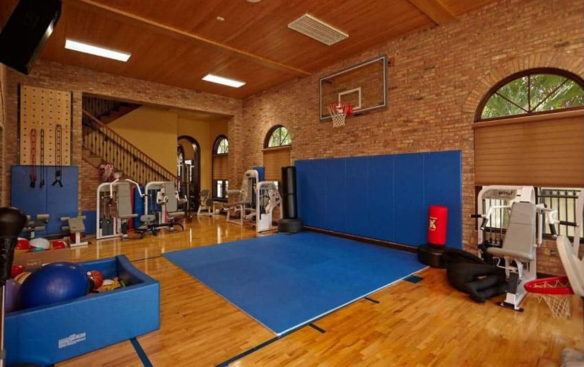 Indoor basketball court in house