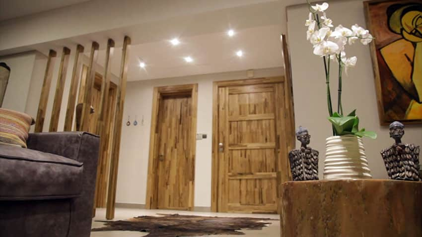 Interior wood doors in modern apartment with hallway and decor