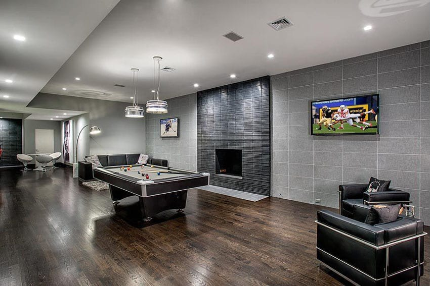 Large modern game room with gray color theme