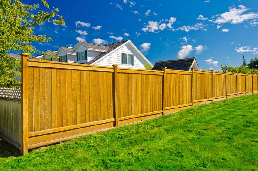 Long cedar wood fence