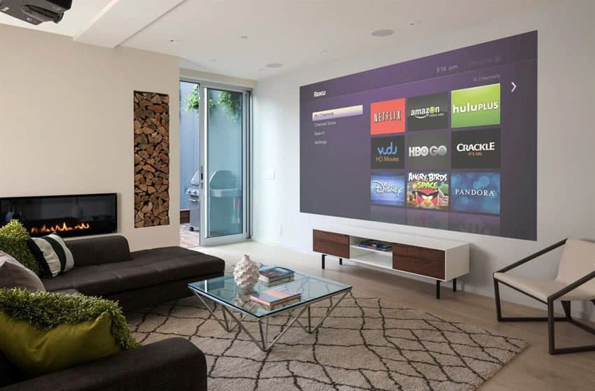 Lounge room with hd lcd projector tv screen
