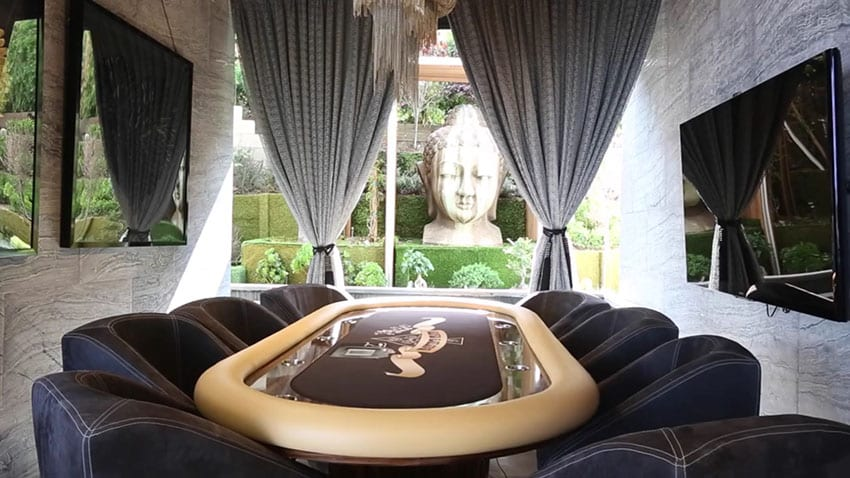 Luxury card room with leather seating