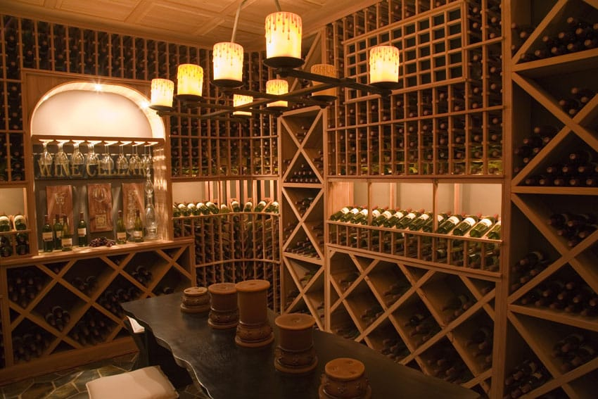 Luxury wine cellar with built in home bar
