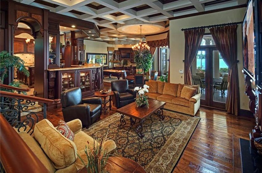 Man cave lounge with comfortable furniture