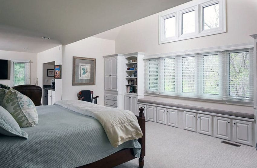 Master bedroom with window seat bench