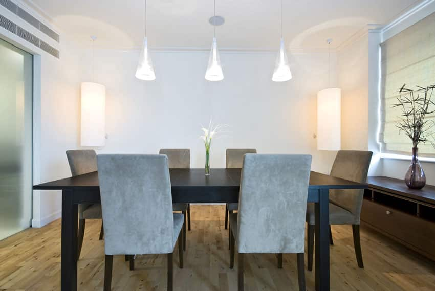 Minimalist modern dining room with cone pendant lights