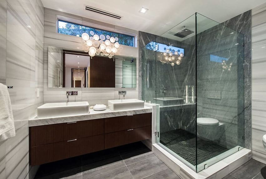 Modern bathroom with black and white marble tile