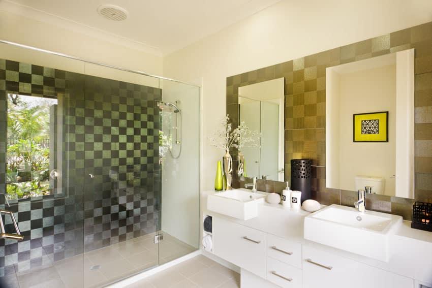 Modern bathroom with checkered pattern shower