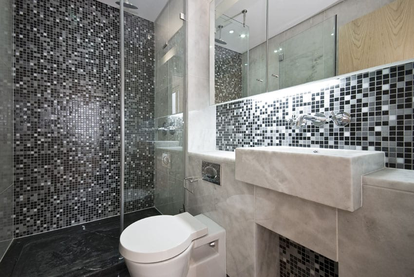 Modern bathroom with metallic mosaic wall tile