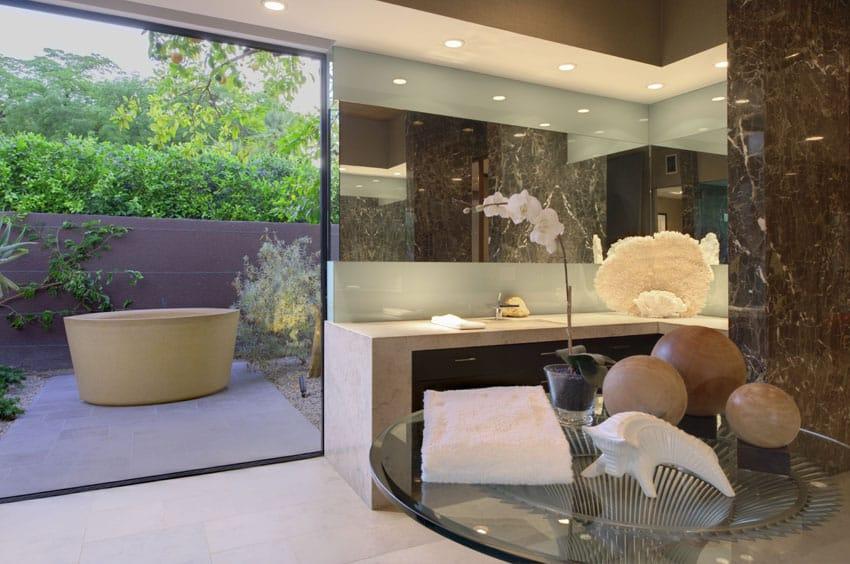 Modern bathroom with outdoor bathtub