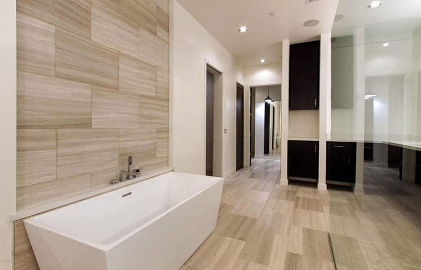 Modern bathroom with porcelain tile walls and flooring