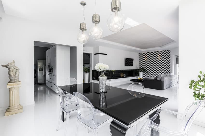 Modern black and white dining room with black table and clear see through chairs