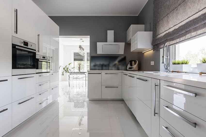 Modern closed kitchen with white cabinetry and gray painted walls