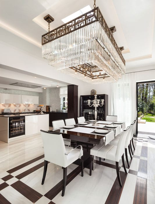 Modern dining room with beautiful rectangular light fixture