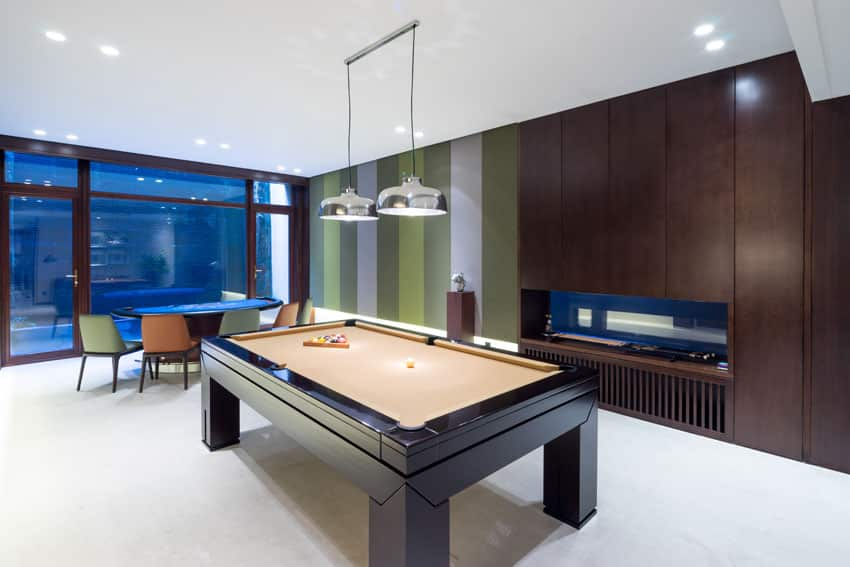 Modern game room man cave with poker table and pool table
