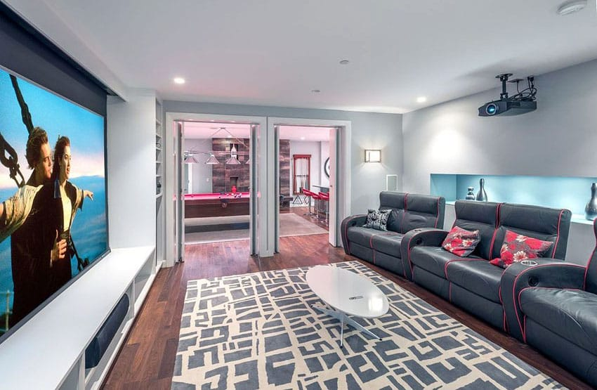 Modern home theater room with big screen tv