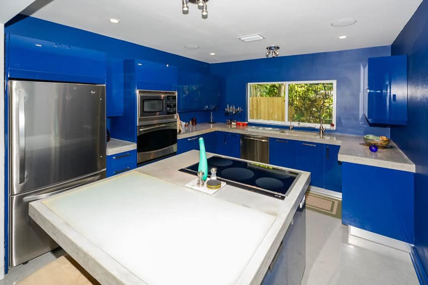 Modern kitchen painted blue walls and high gloss blue cabinets with white counters