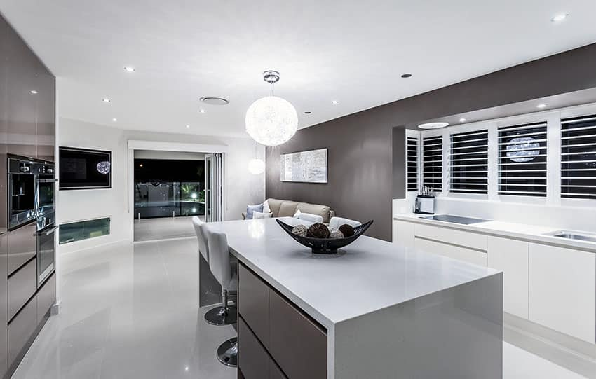 White Kitchen Cabinets With Solid Surface Countertops